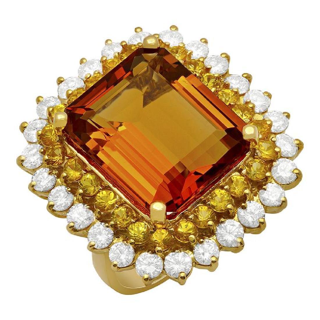 14k Yellow Gold 13.82ct Citrine 1.92ct Yellow Sapphire