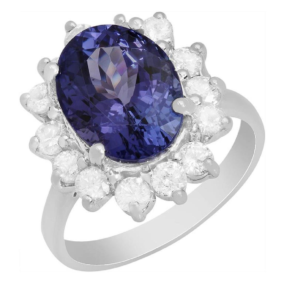 14k White Gold 5.16ct Tanzanite 1.01ct Diamond Ring