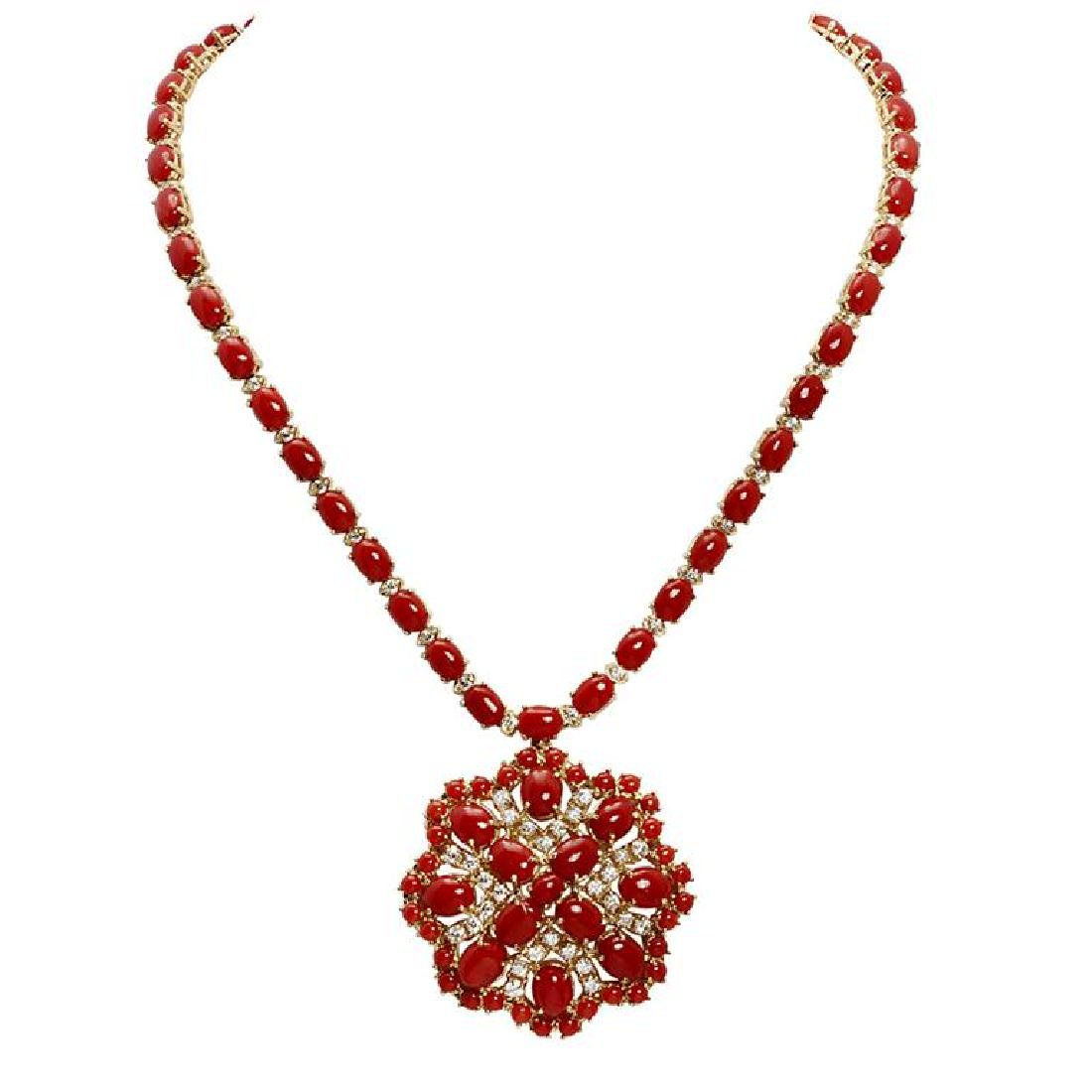 14k Yellow Gold 46.91ct Coral 3.14ct Diamond Necklace
