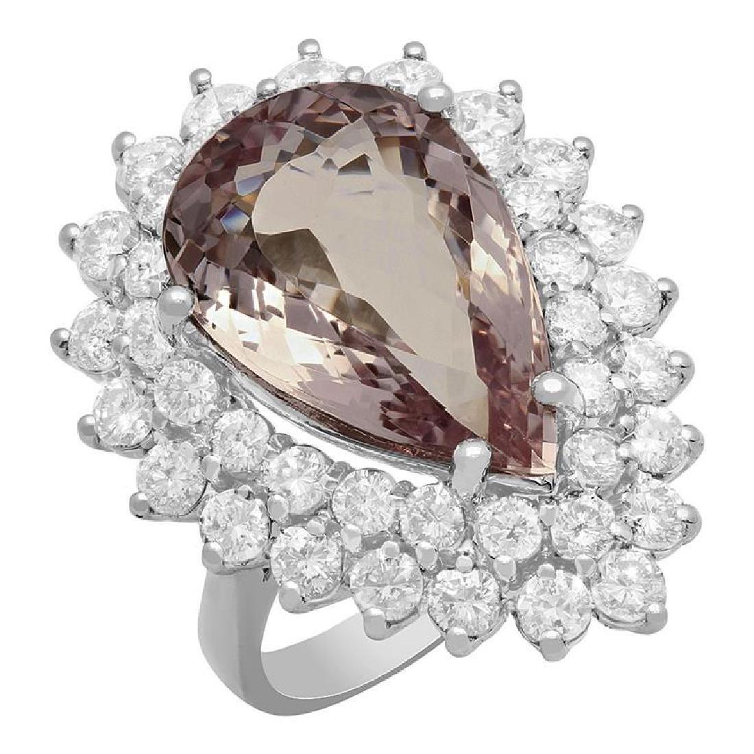 14k White Gold 7.62ct Kunzite 2.68ct Diamond Ring