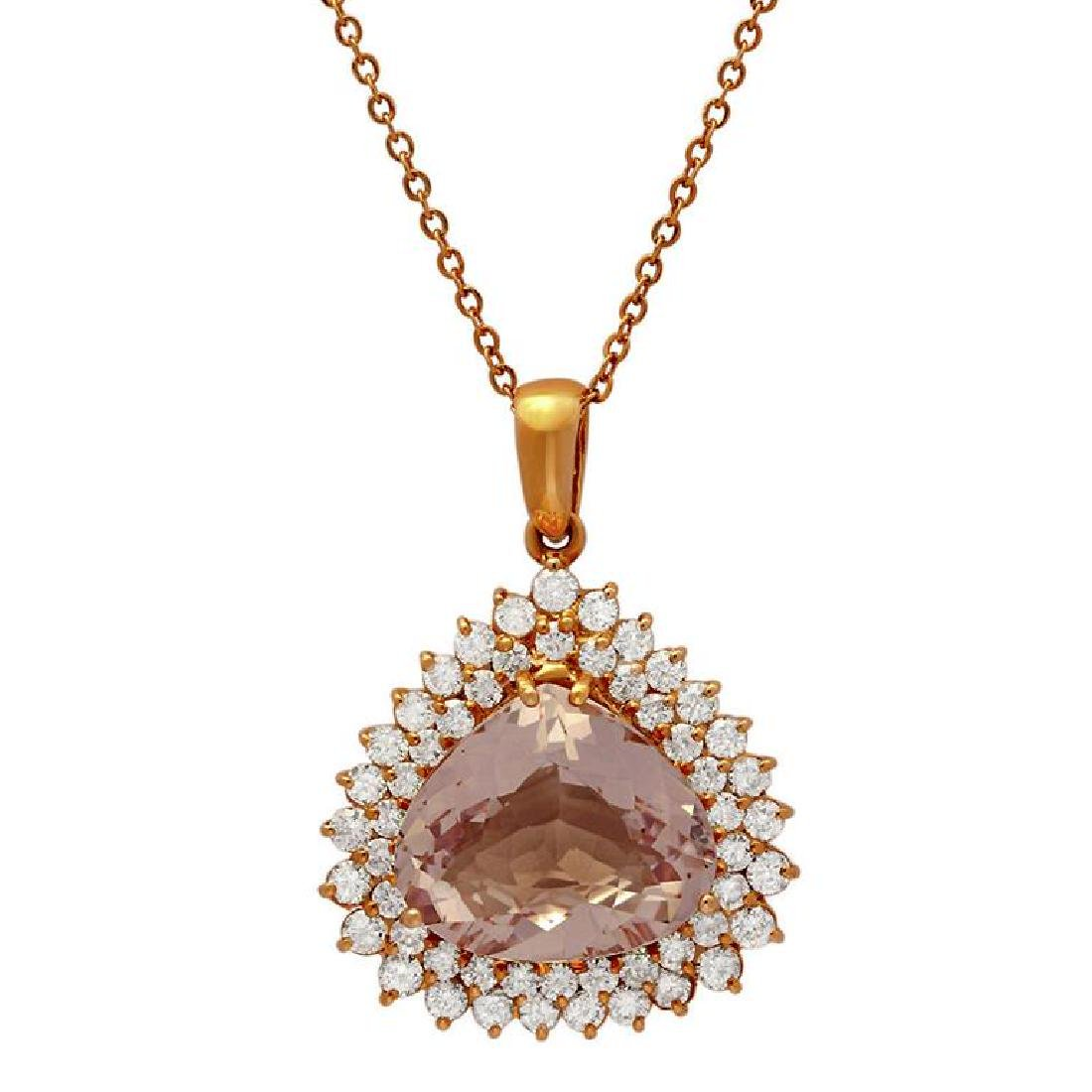 14k Rose Gold 11.89ct Kunzite 2.58ct Diamond Pendant