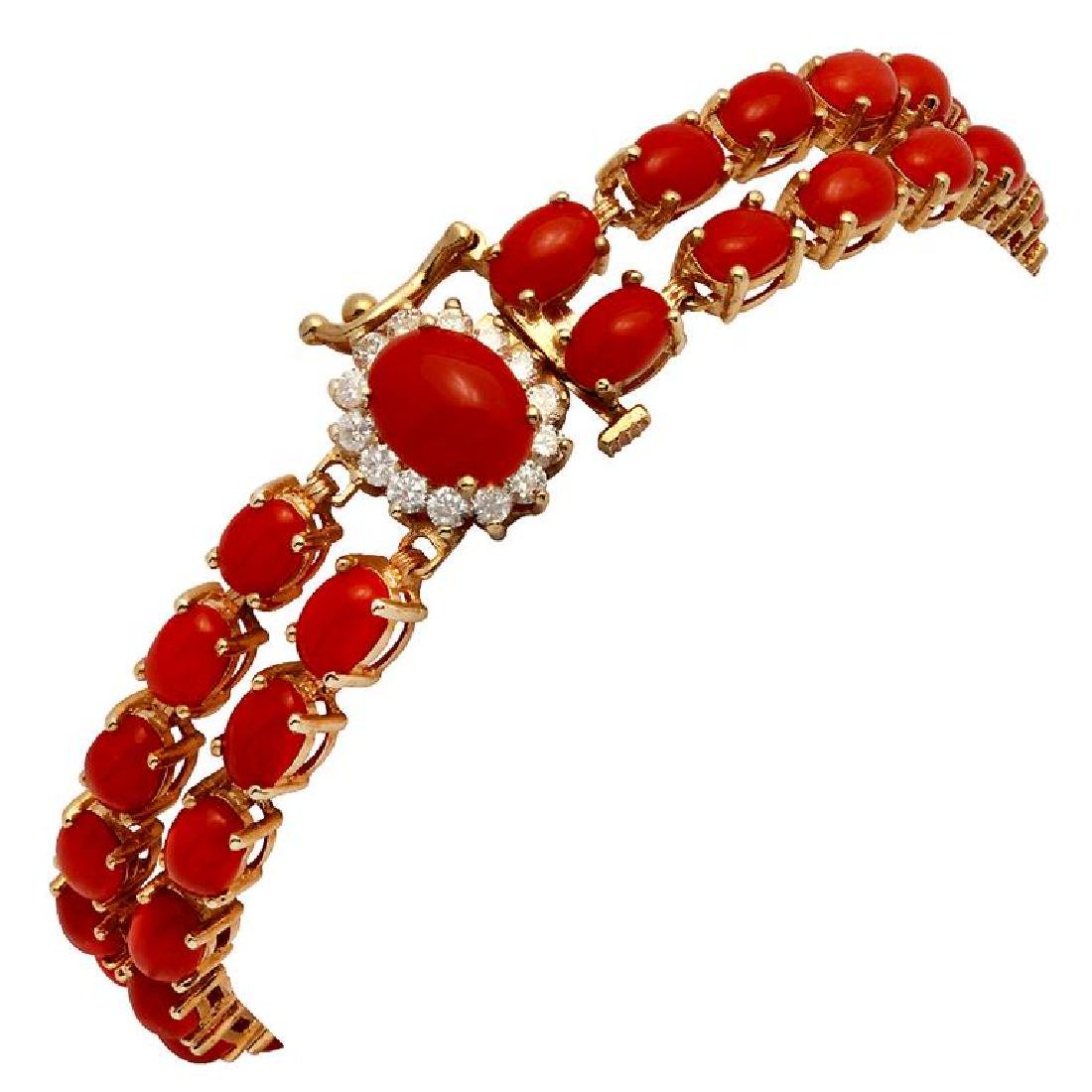14k Yellow Gold 19.31ct Coral 0.34ct Diamond Bracelet