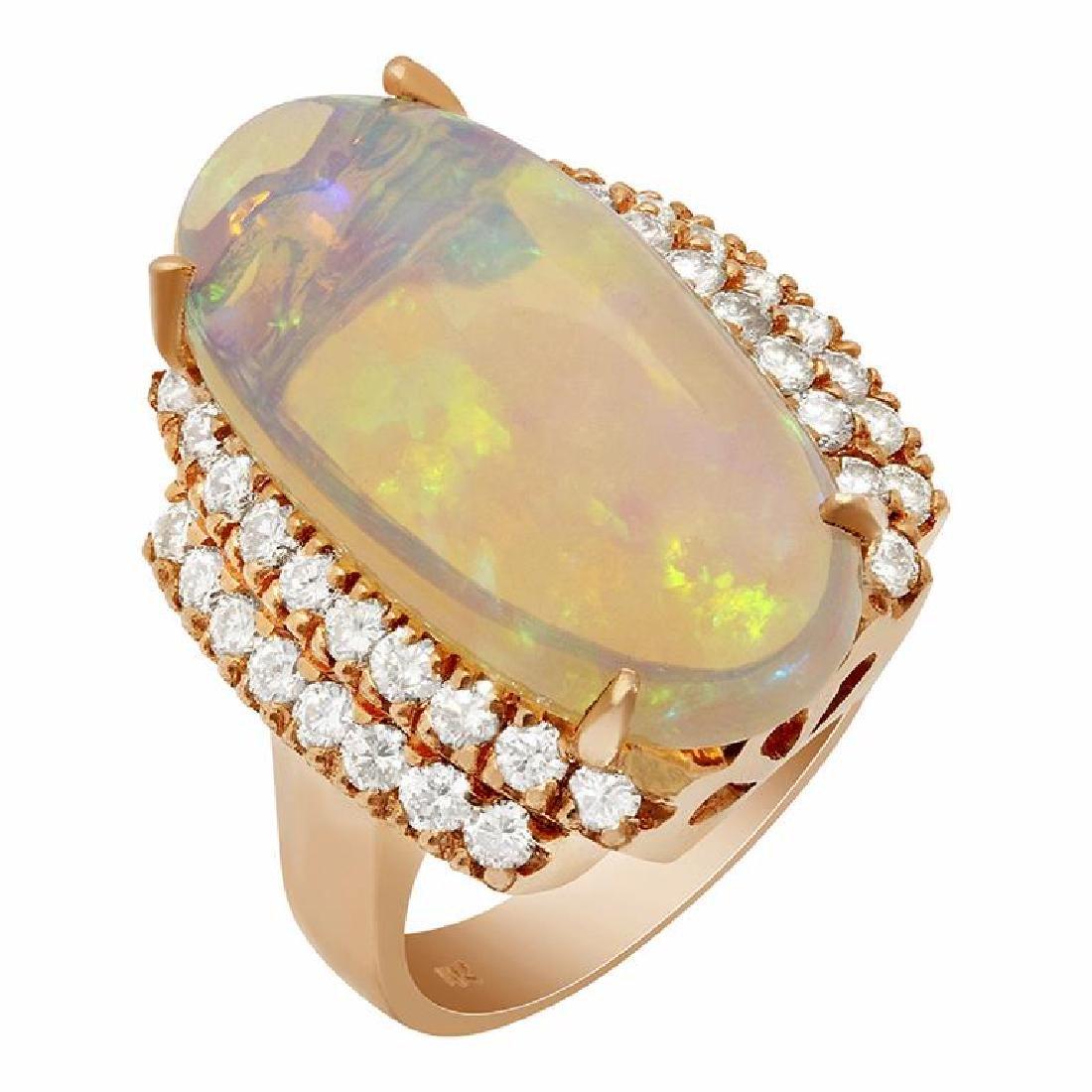 14k Rose Gold 8.91ct Ethiopian Opal 1.09ct Diamond Ring