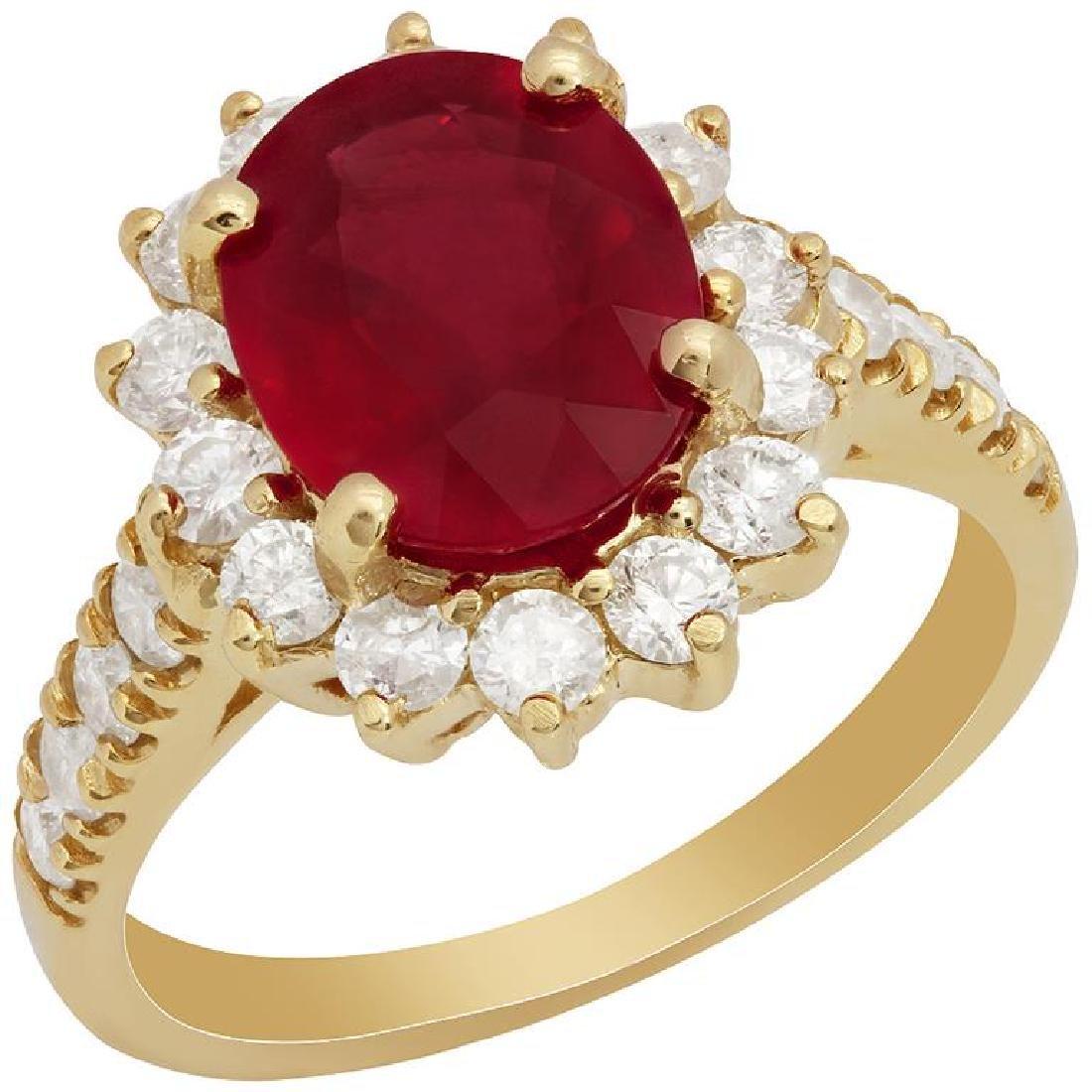 14k Yellow Gold 3.22ct Ruby 1.06ct Diamond Ring