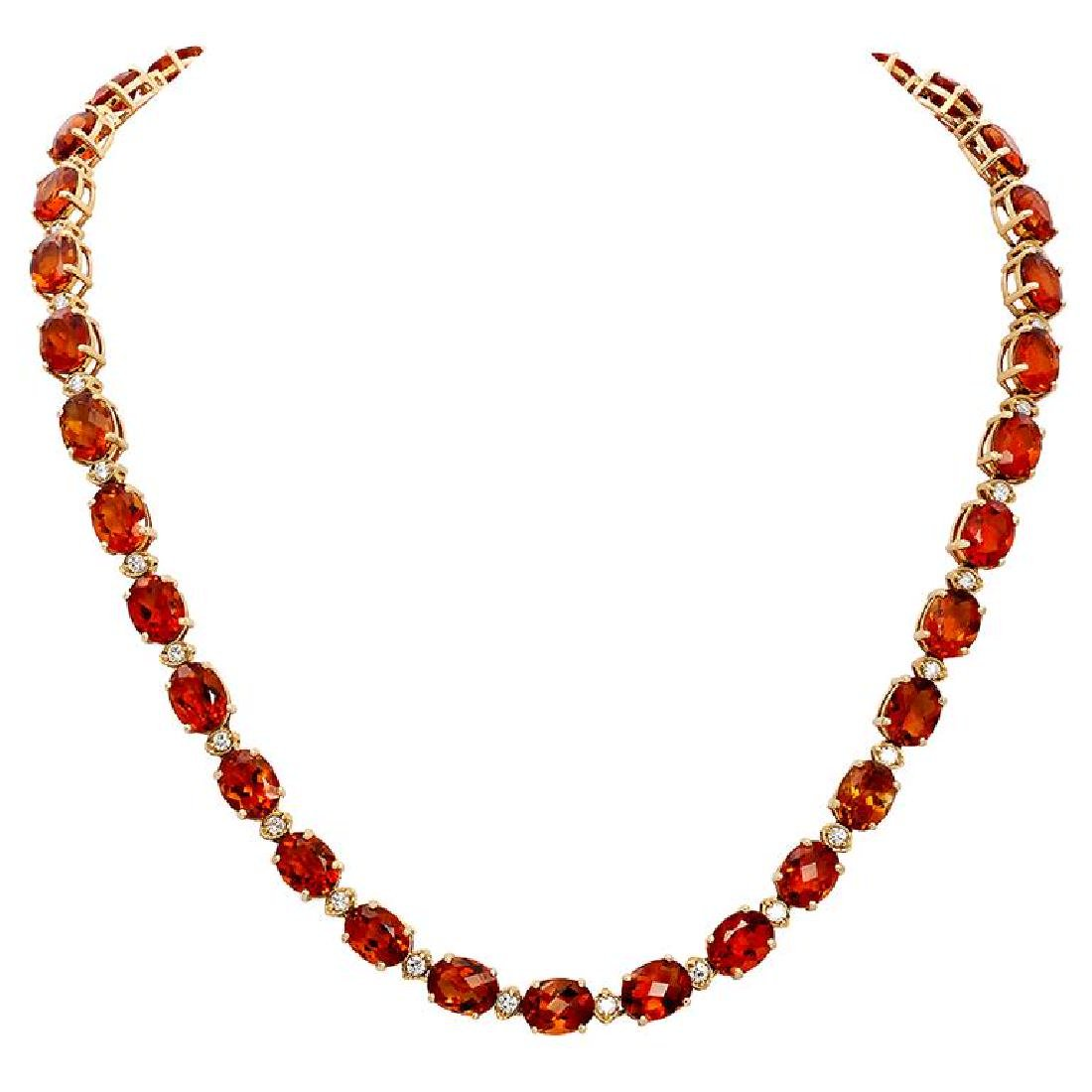 14k Yellow Gold 61.52ct Citrine 1.15ct Diamond Necklace