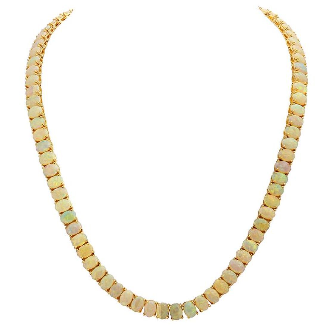 14k Yellow Gold 32.90ct White Opal Necklace