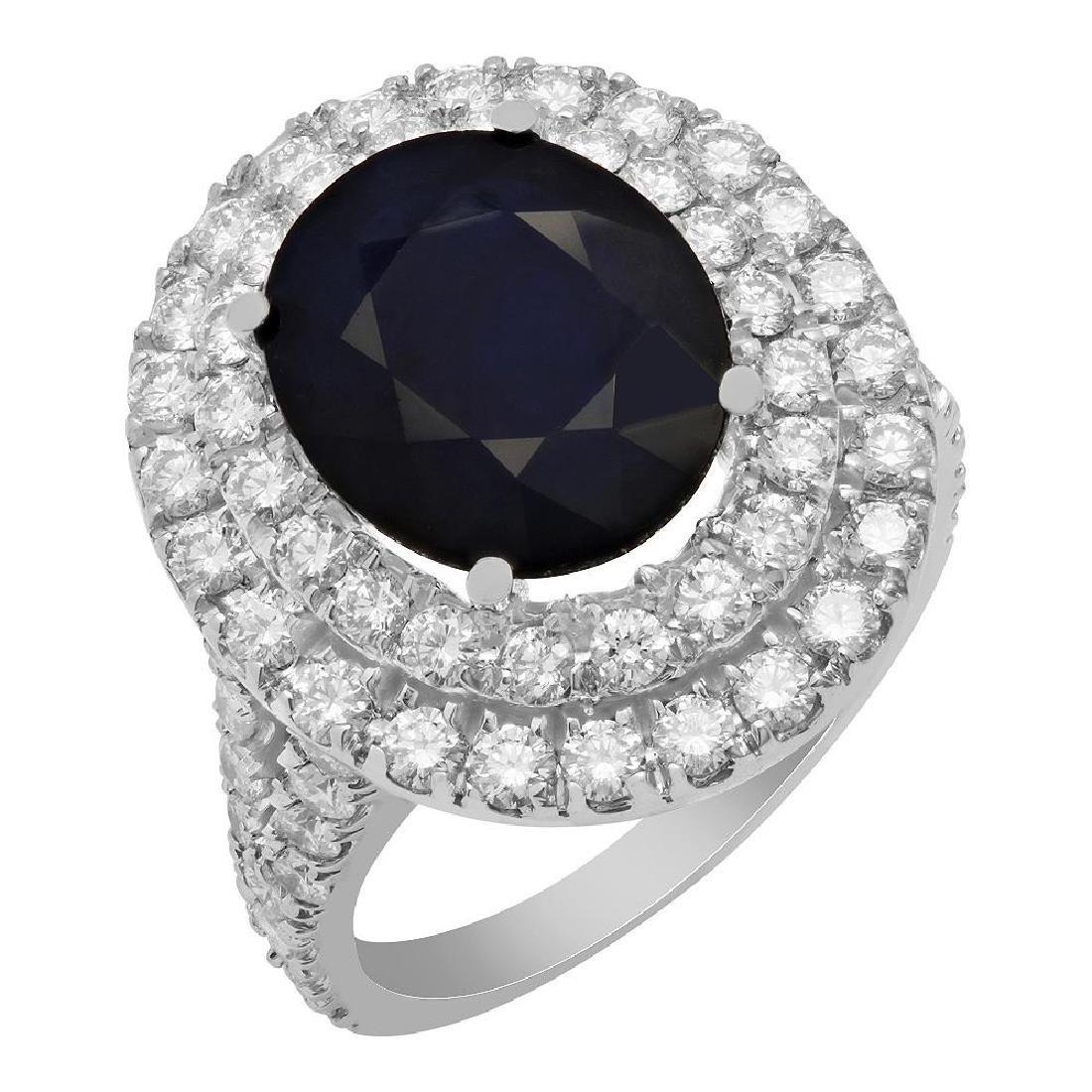 14k White Gold 11.11ct Sapphire 1.68ct Diamond Ring