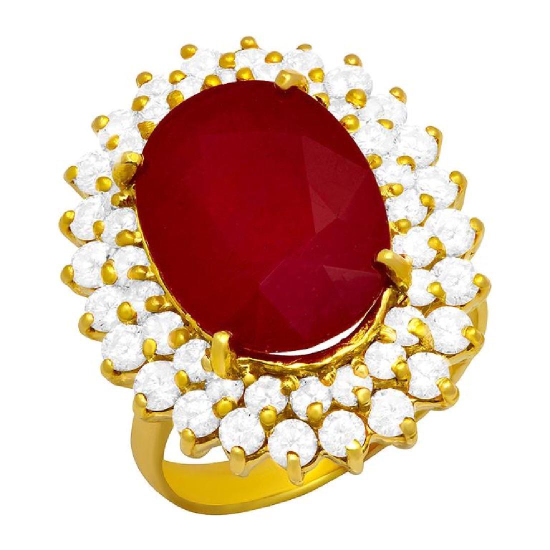 14k Yellow Gold 10.10ct Ruby 2.11ct Diamond Ring