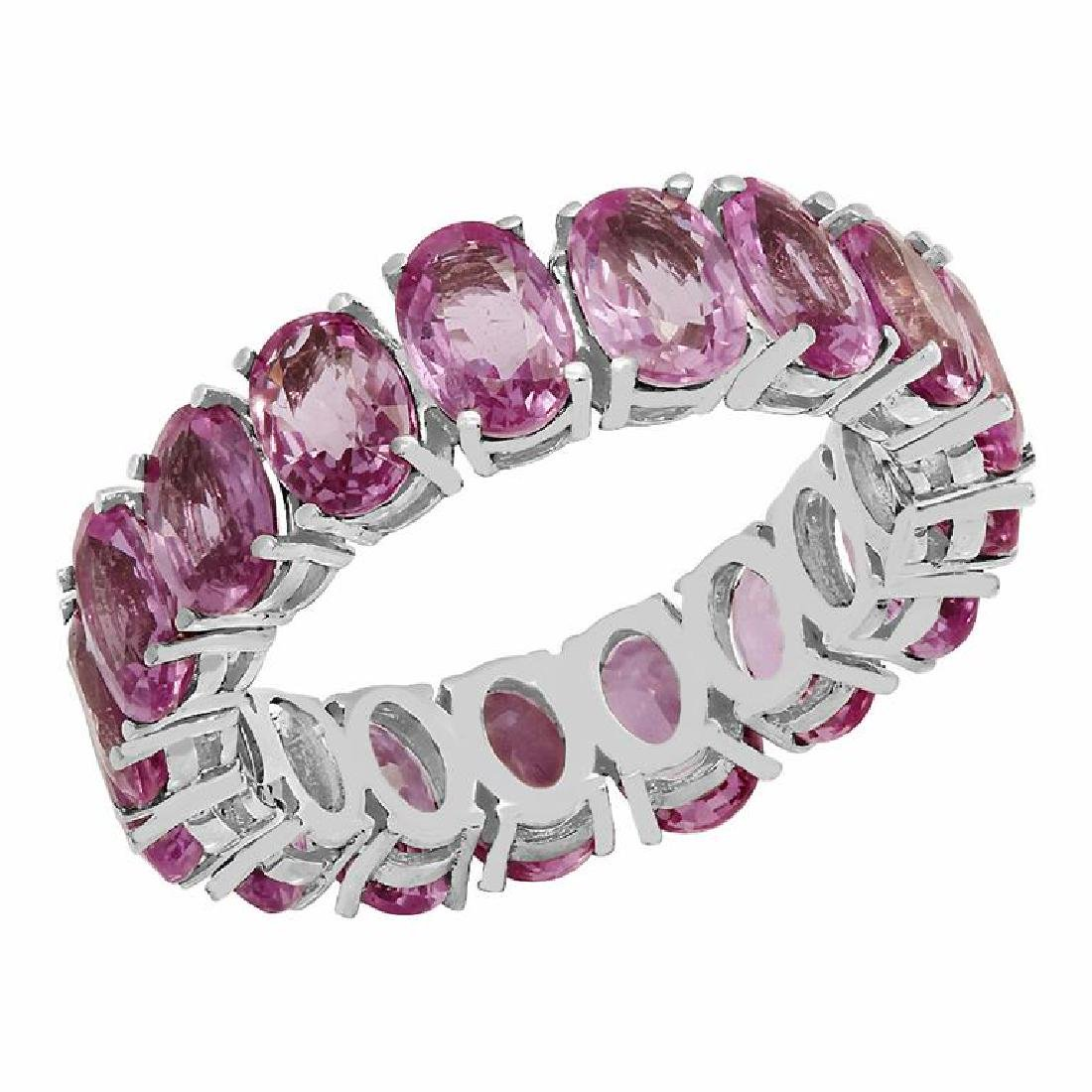 14k White Gold 10.04ct Pink Sapphire Eternity Band