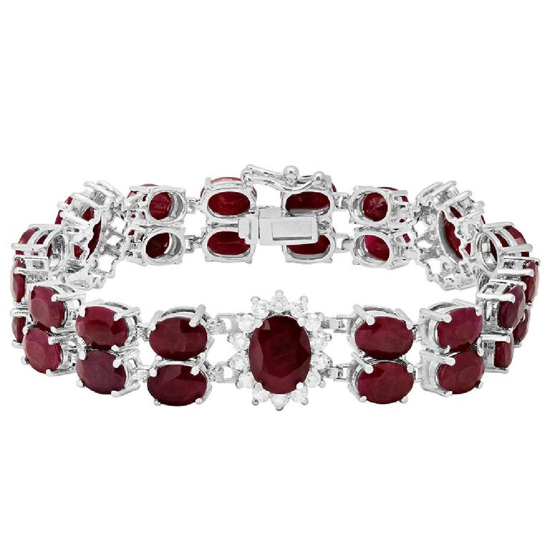 14k White Gold 43.10ct Ruby 1.65ct Diamond Bracelet