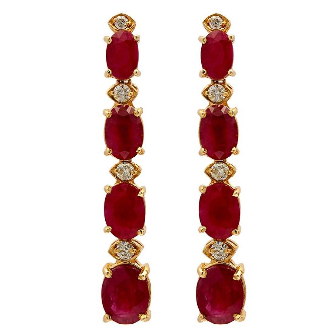 14k Yellow Gold 9.70ct Ruby 0.38ct Diamond Earrings