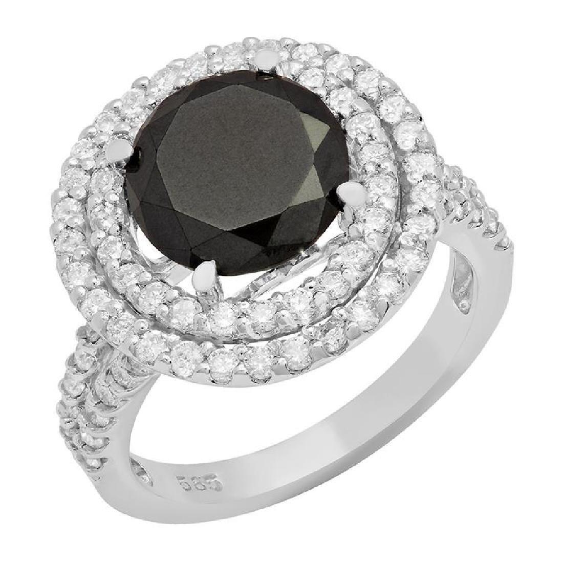 14k White Gold 3.15ct & 1.22ct Diamond Ring