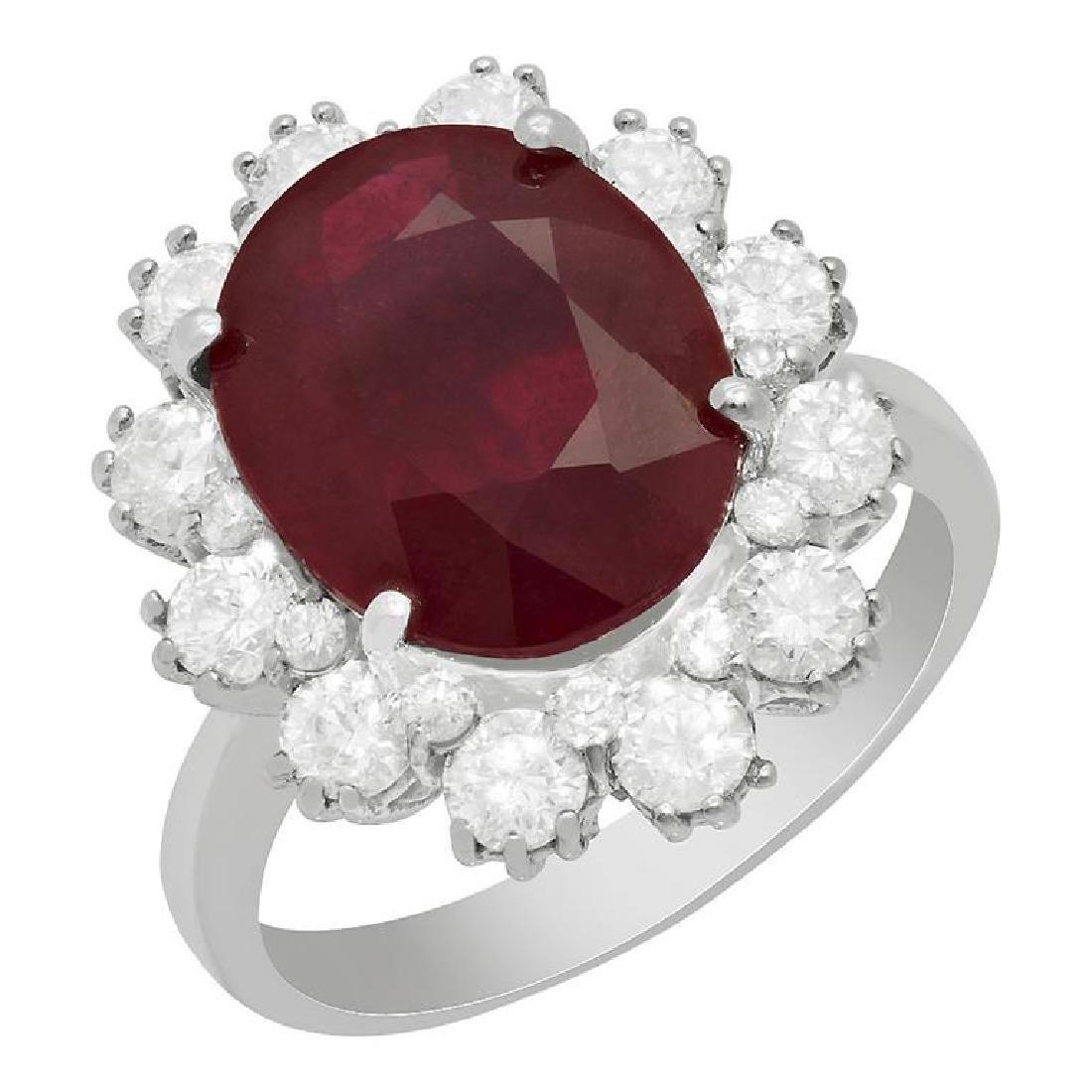 14k White Gold 6.15ct Ruby 1.44ct Diamond Ring