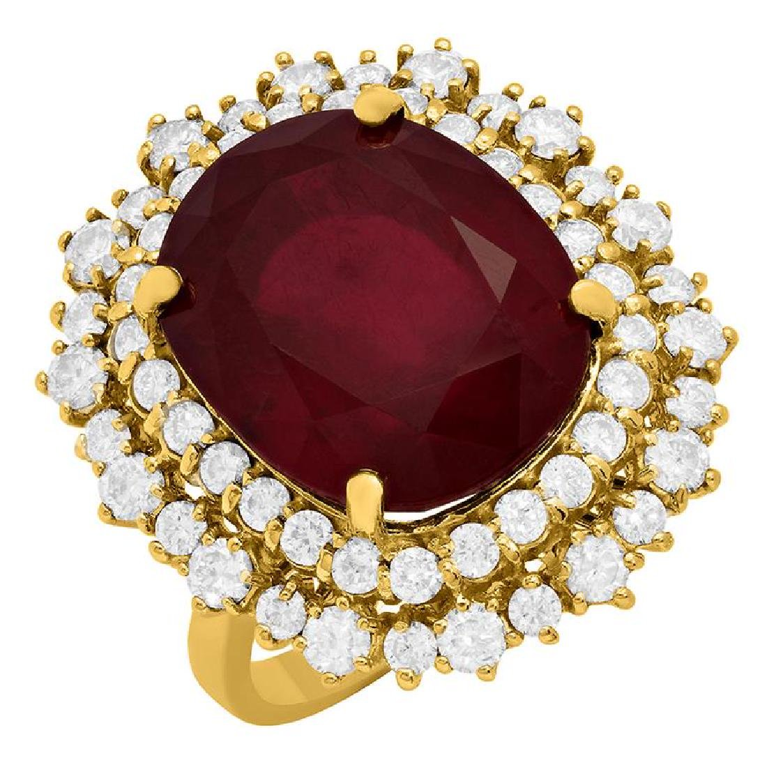 14k Yellow Gold 17.15ct Ruby 2.13ct Diamond Ring