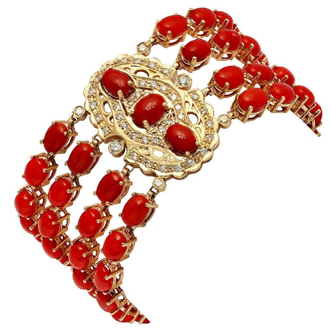 14k Yellow Gold 38.65ct Coral 1.12ct Diamond Bracelet