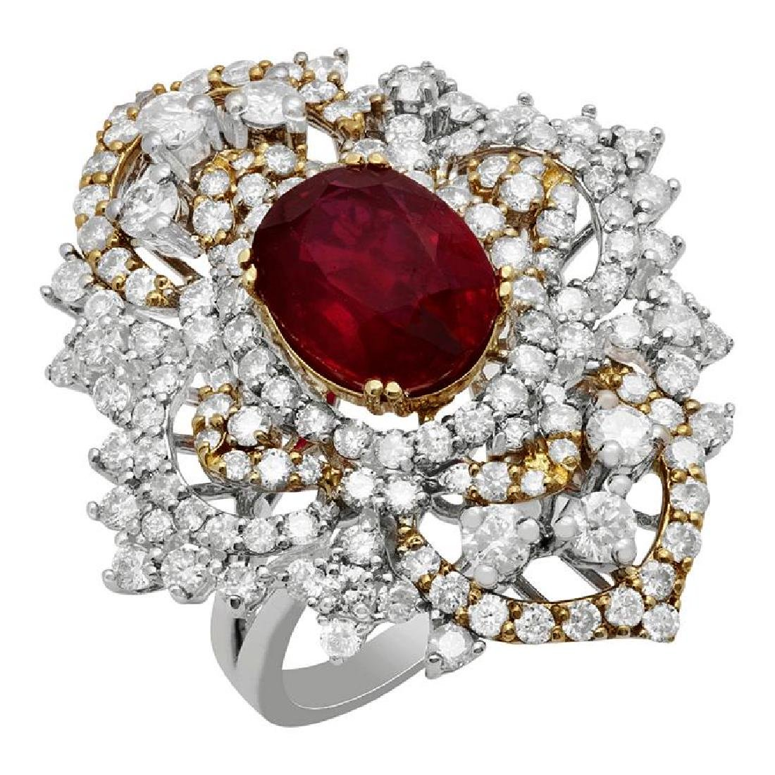 14k White &Yellow Gold 4.28ct Ruby 3.25ct Diamond Ring