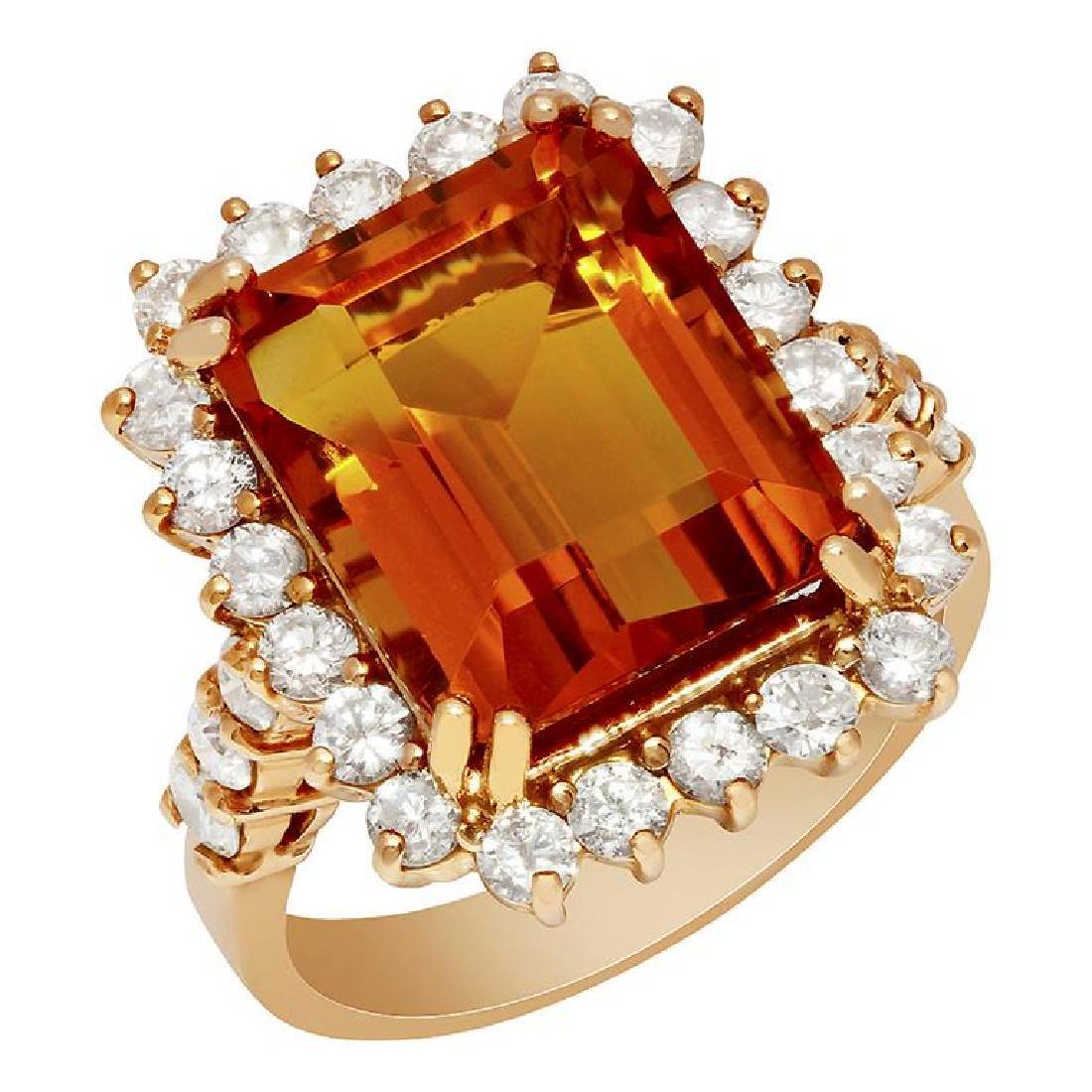 14k Rose Gold 7.89ct Citrine 1.40ct Diamond Pendant