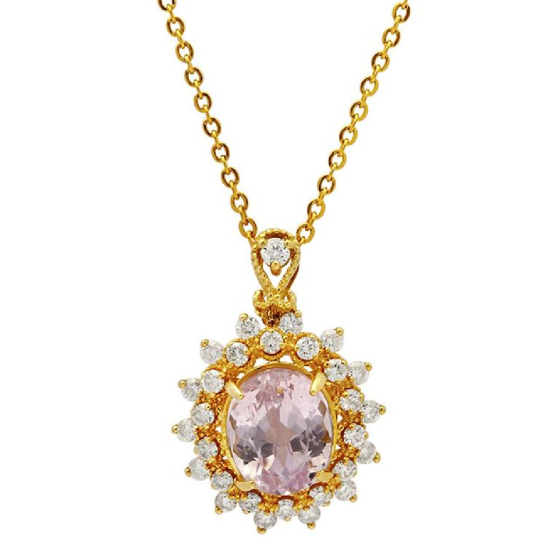 14k Yellow Gold 5.30ct Kunzite 1.09ct Diamond Pendant
