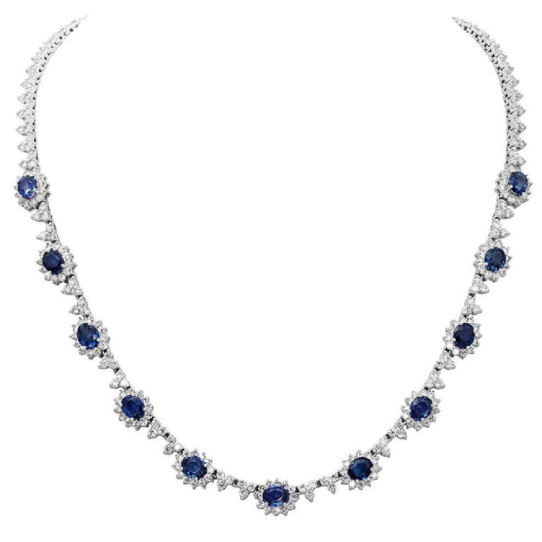 14k White Gold 7.94ct Sapphire 8.82ct Diamond Necklace
