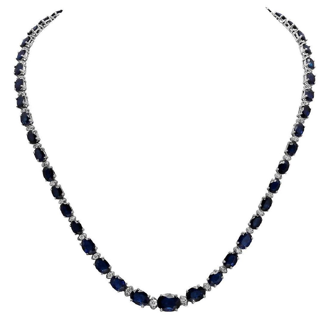 14k White Gold 34.60ct Sapphire 1.78ct Diamond Necklace