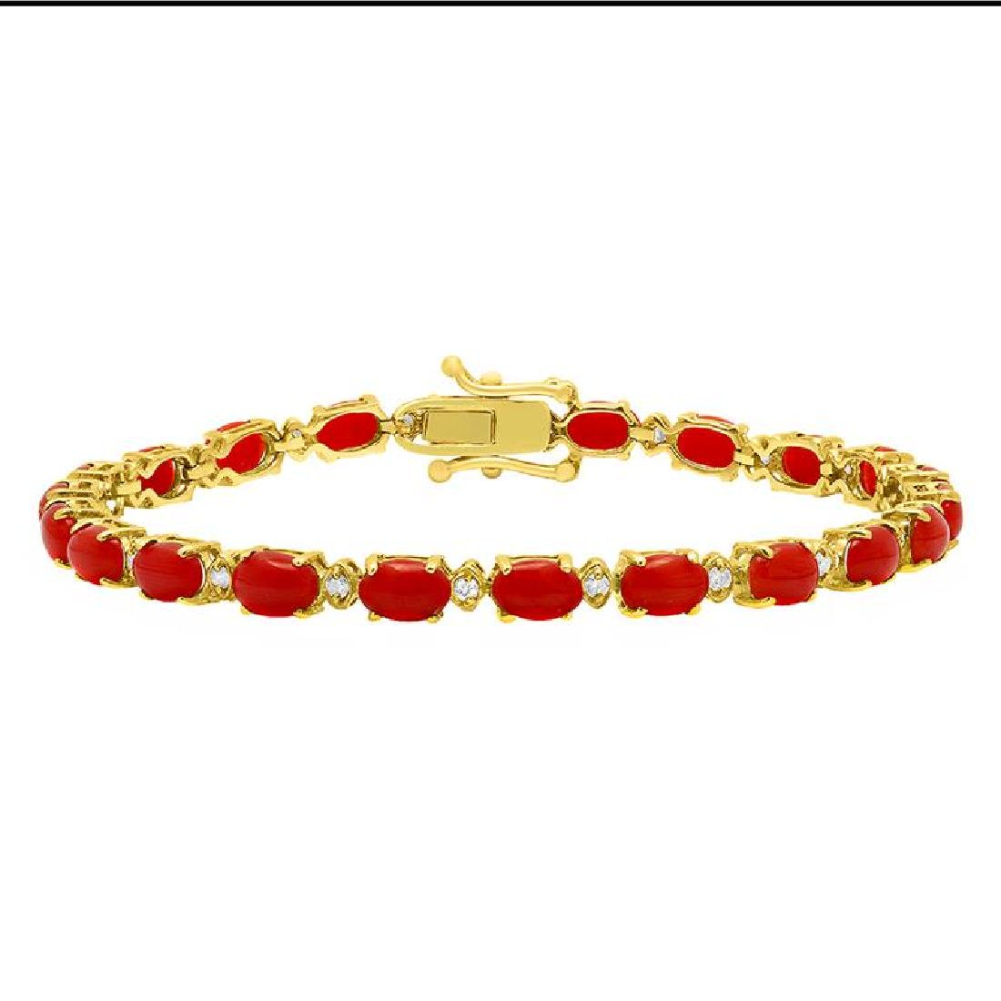 14k Yellow Gold 7.51ct Coral 0.51ct Diamond Bracelet