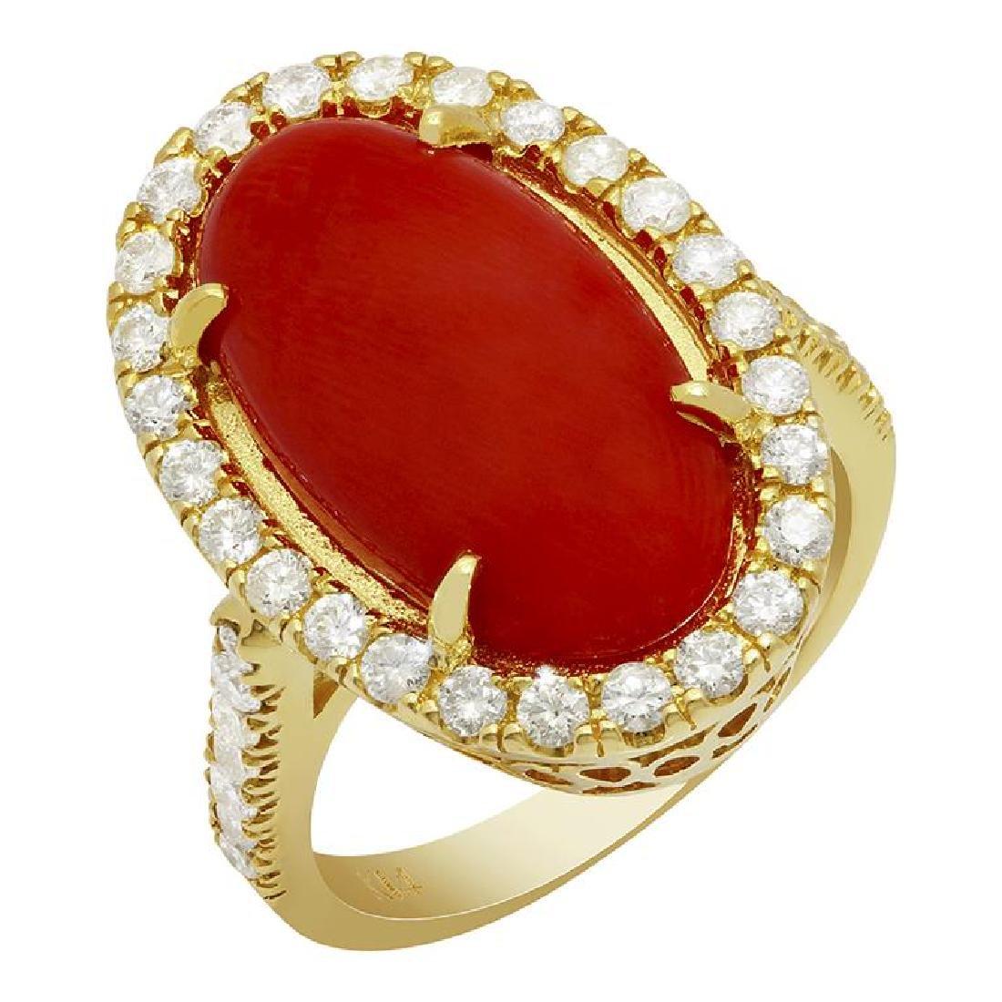 14k Yellow Gold 8.18ct Coral 0.92ct Diamond Ring