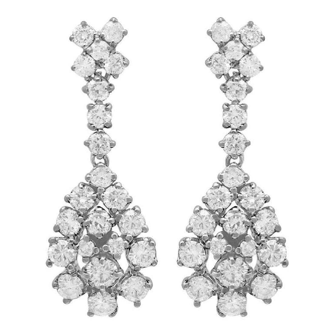 14k White Gold 3.10ct Diamond Earrings