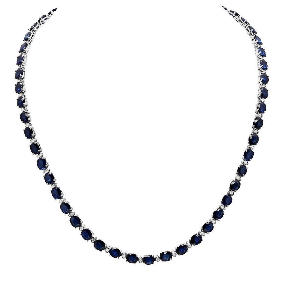 14k White Gold 33.56ct Sapphire 1.70ct Diamond Necklace
