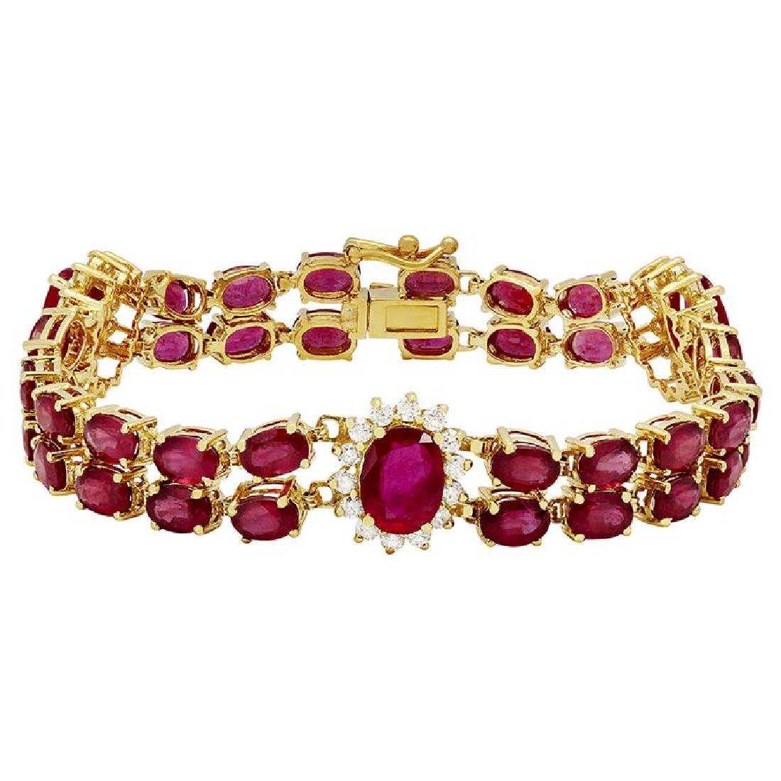 14k Yellow Gold 29.67ct Ruby 1.64ct Diamond Bracelet