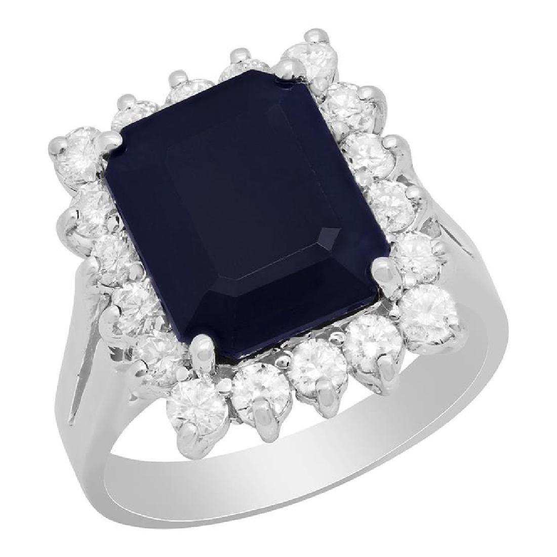 14k White Gold 5.05ct Sapphire 0.91ct Diamond Ring