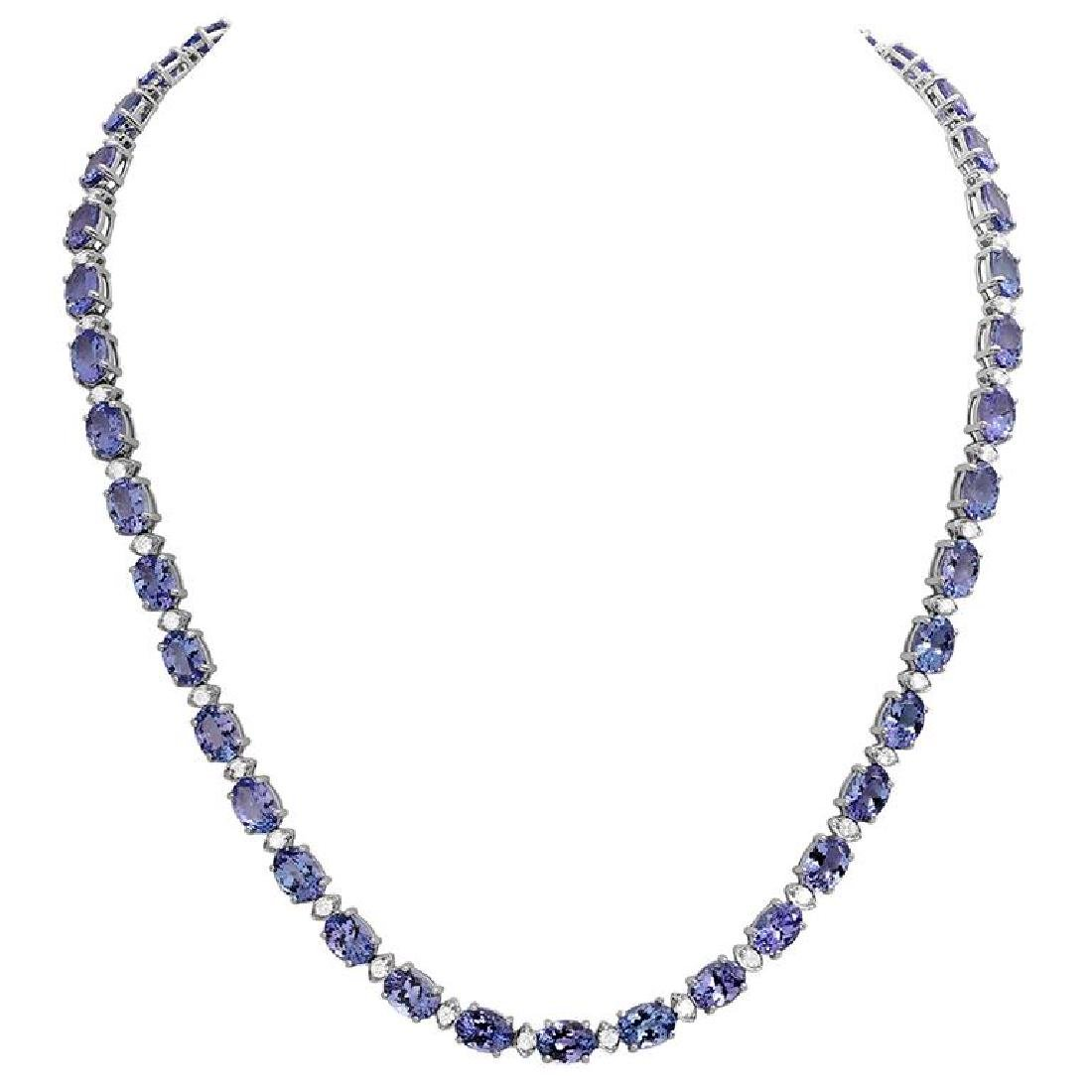 14k White Gold 35.89ct Tanzanite 1.73ct Diamond