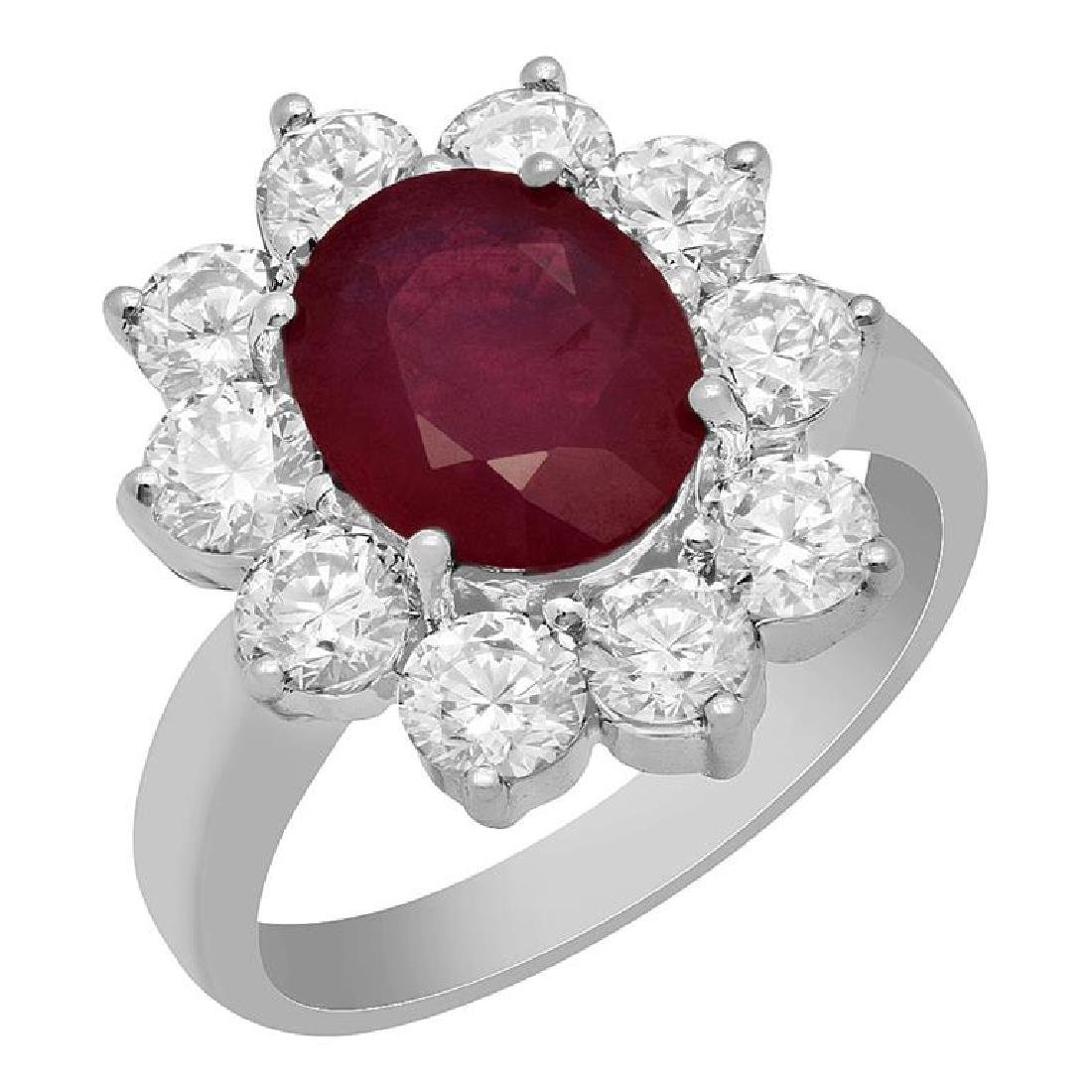 14k White Gold 2.86ct Ruby 2.18ct Diamond Ring