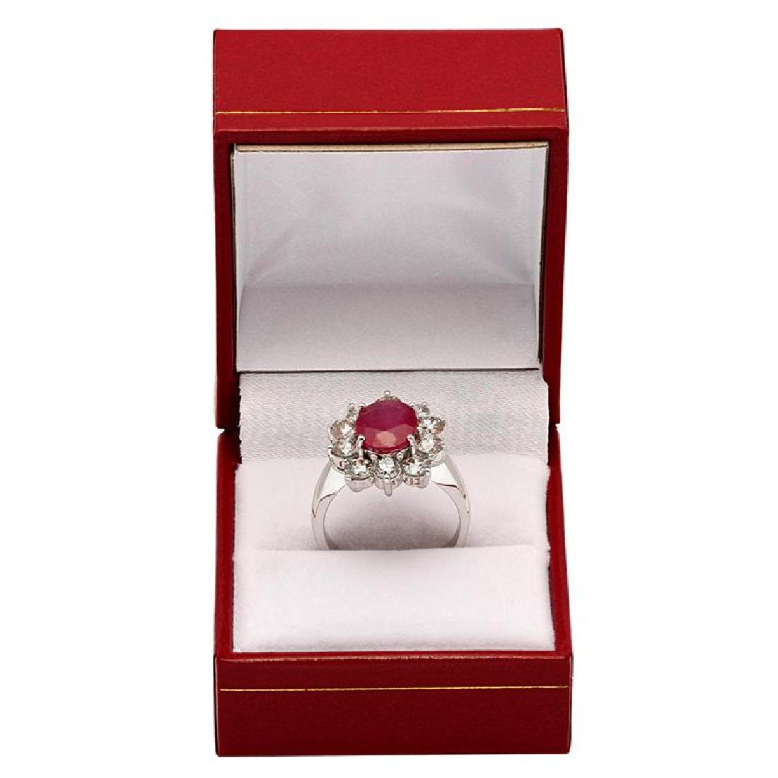 14k White Gold 2.86ct Ruby 2.18ct Diamond Ring - 3