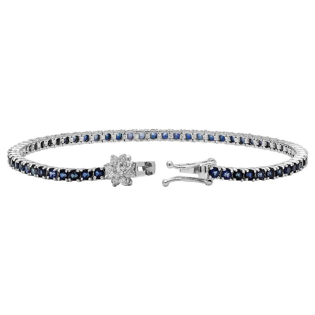 14k White Gold 5.10ct Sapphire 0.42ct Diamond Bracelet - 2