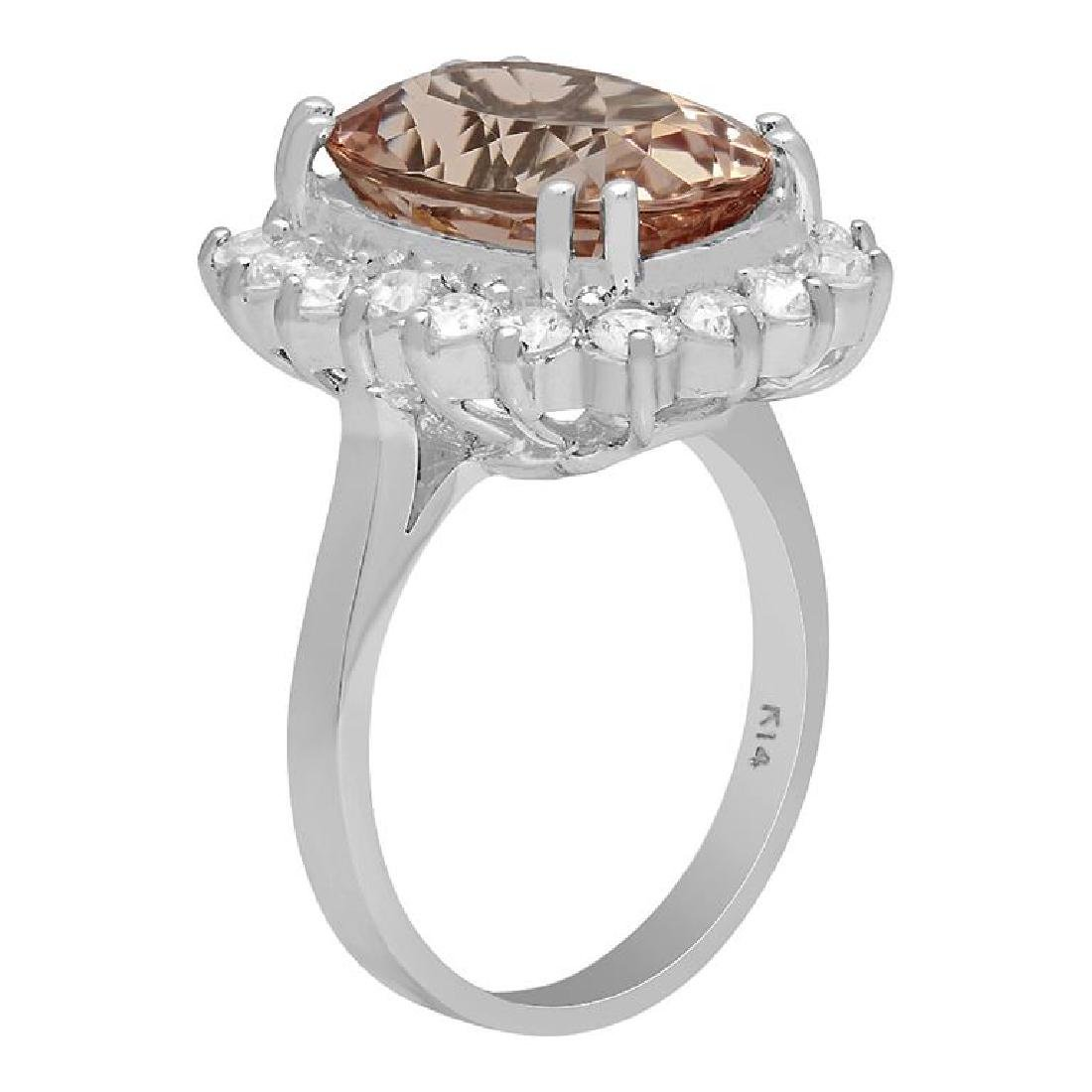 14k White Gold 6.38ct Morganite 1.19ct Diamond Ring - 2