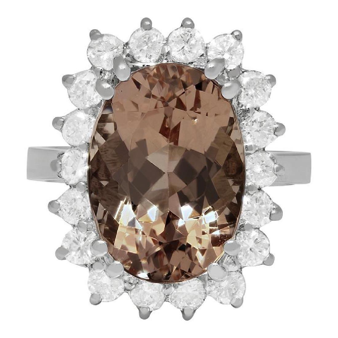 14k White Gold 6.38ct Morganite 1.19ct Diamond Ring - 3