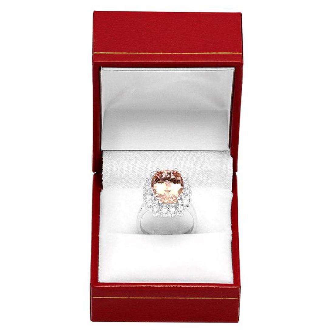 14k White Gold 6.38ct Morganite 1.19ct Diamond Ring - 4
