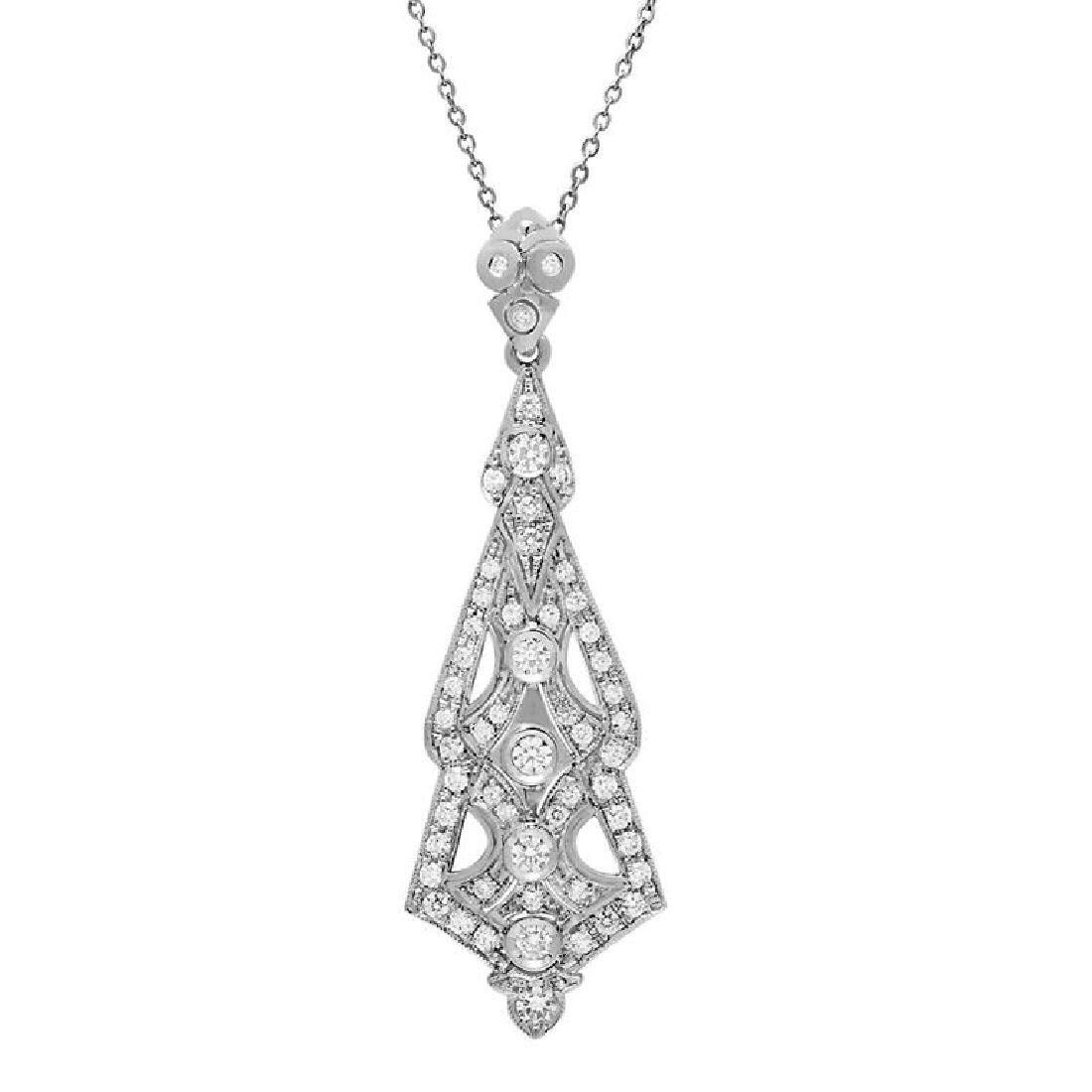 14k White Gold 2.56ct Diamond Pendant