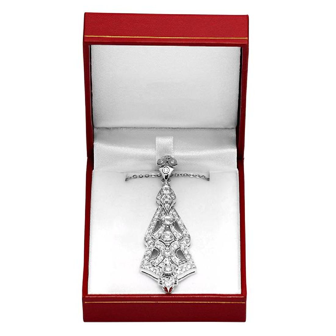 14k White Gold 2.56ct Diamond Pendant - 3