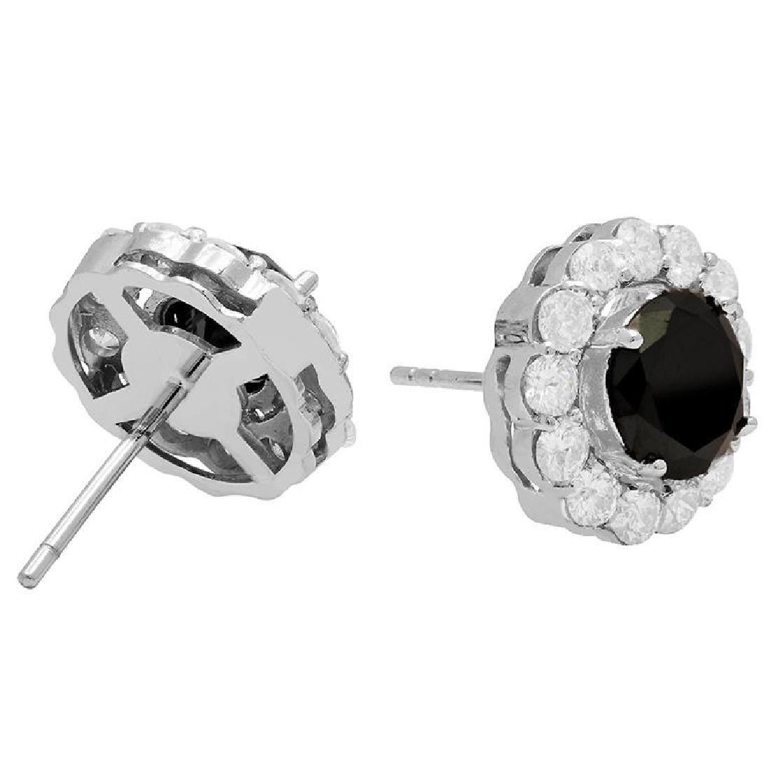14k White Gold 2.65ct & 1.78ct Diamond Earrings - 2