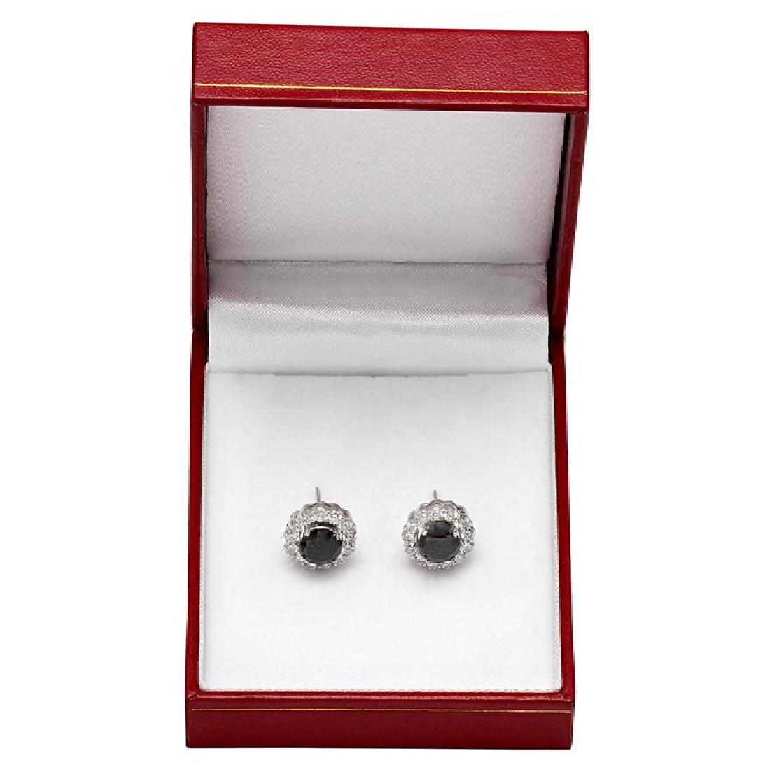 14k White Gold 2.65ct & 1.78ct Diamond Earrings - 3