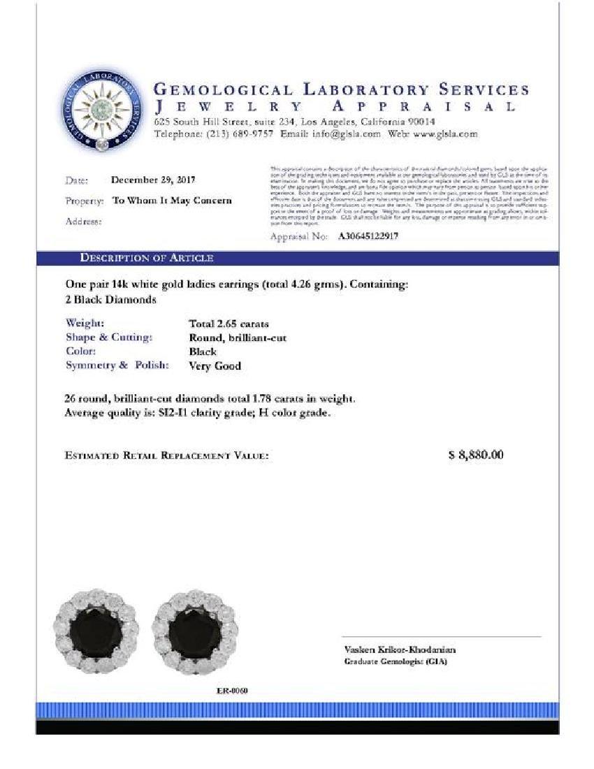 14k White Gold 2.65ct & 1.78ct Diamond Earrings - 4
