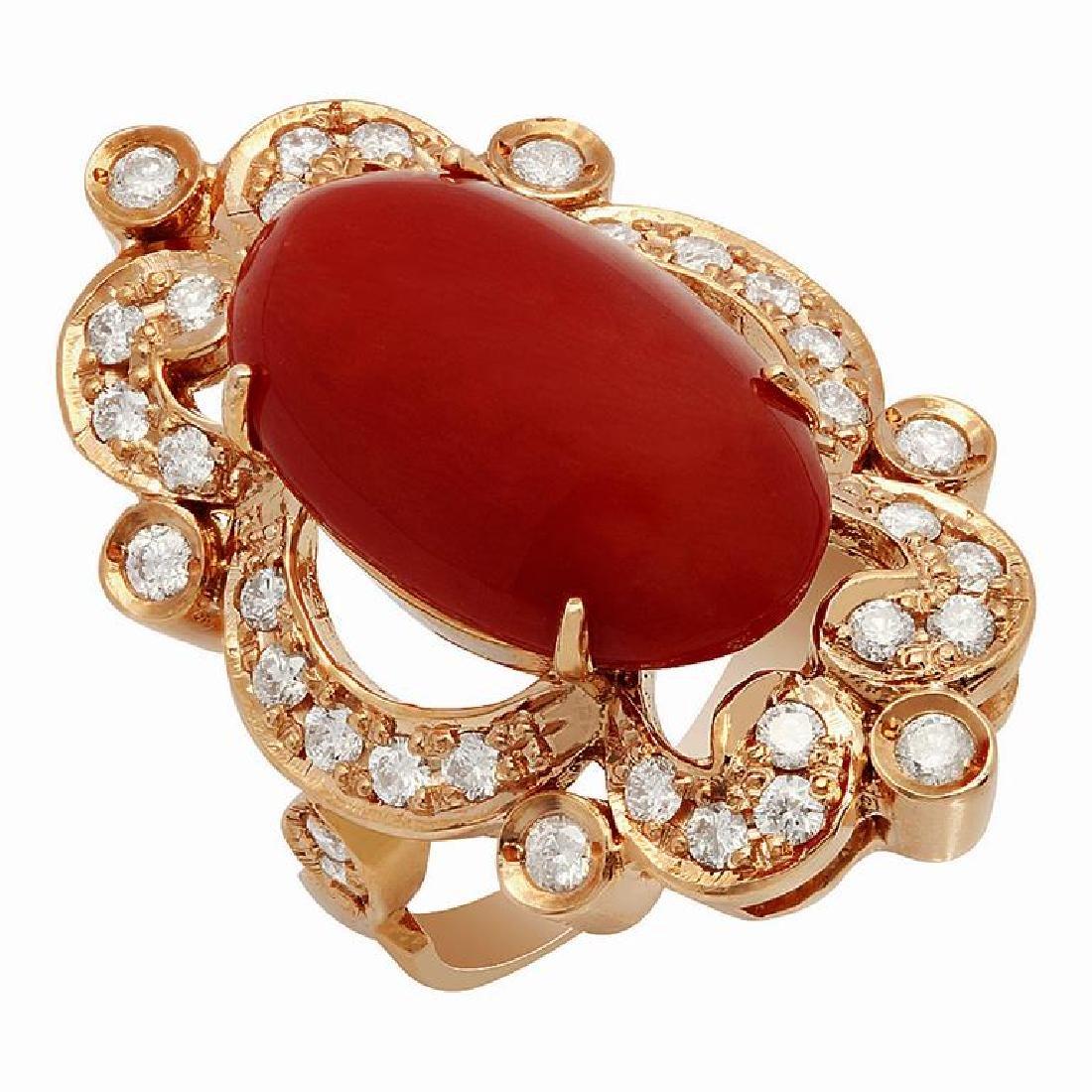 14k Rose Gold 9.64ct Coral 1.22ct Diamond Ring