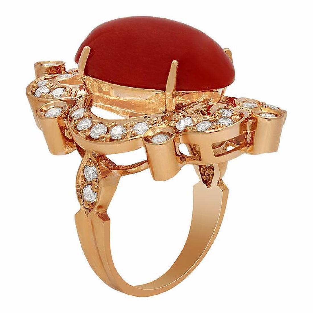 14k Rose Gold 9.64ct Coral 1.22ct Diamond Ring - 2