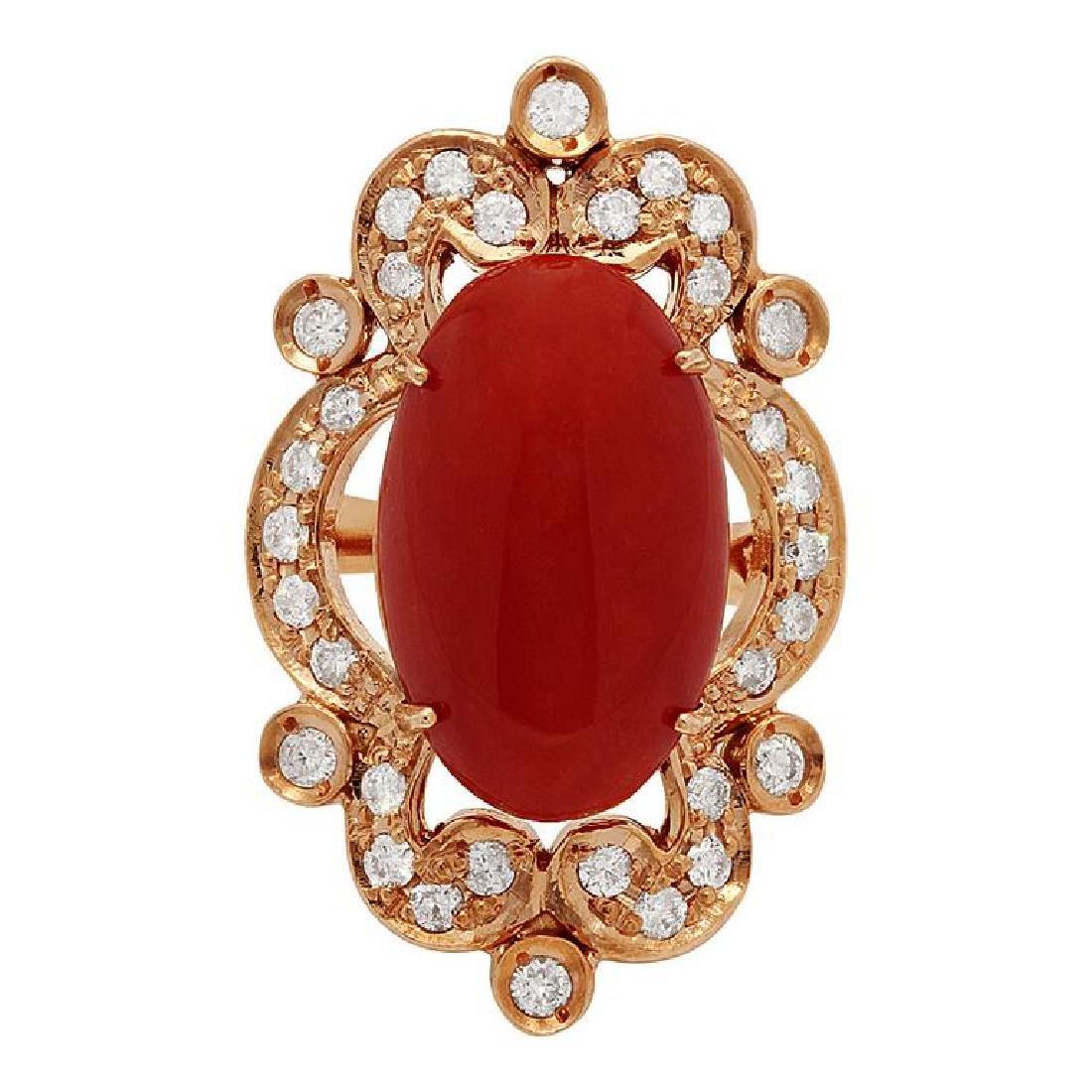 14k Rose Gold 9.64ct Coral 1.22ct Diamond Ring - 3