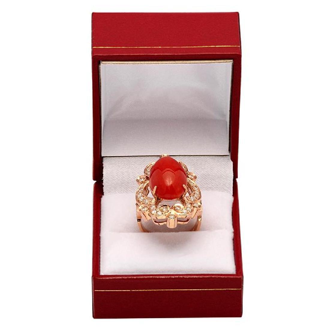 14k Rose Gold 9.64ct Coral 1.22ct Diamond Ring - 4