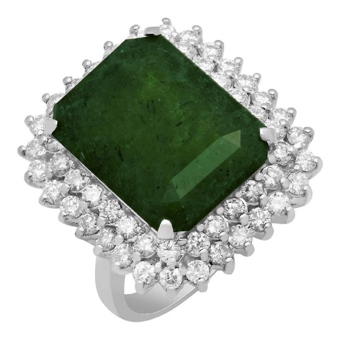 14k White Gold 11.46ct Emerald 1.90ct Diamond Ring