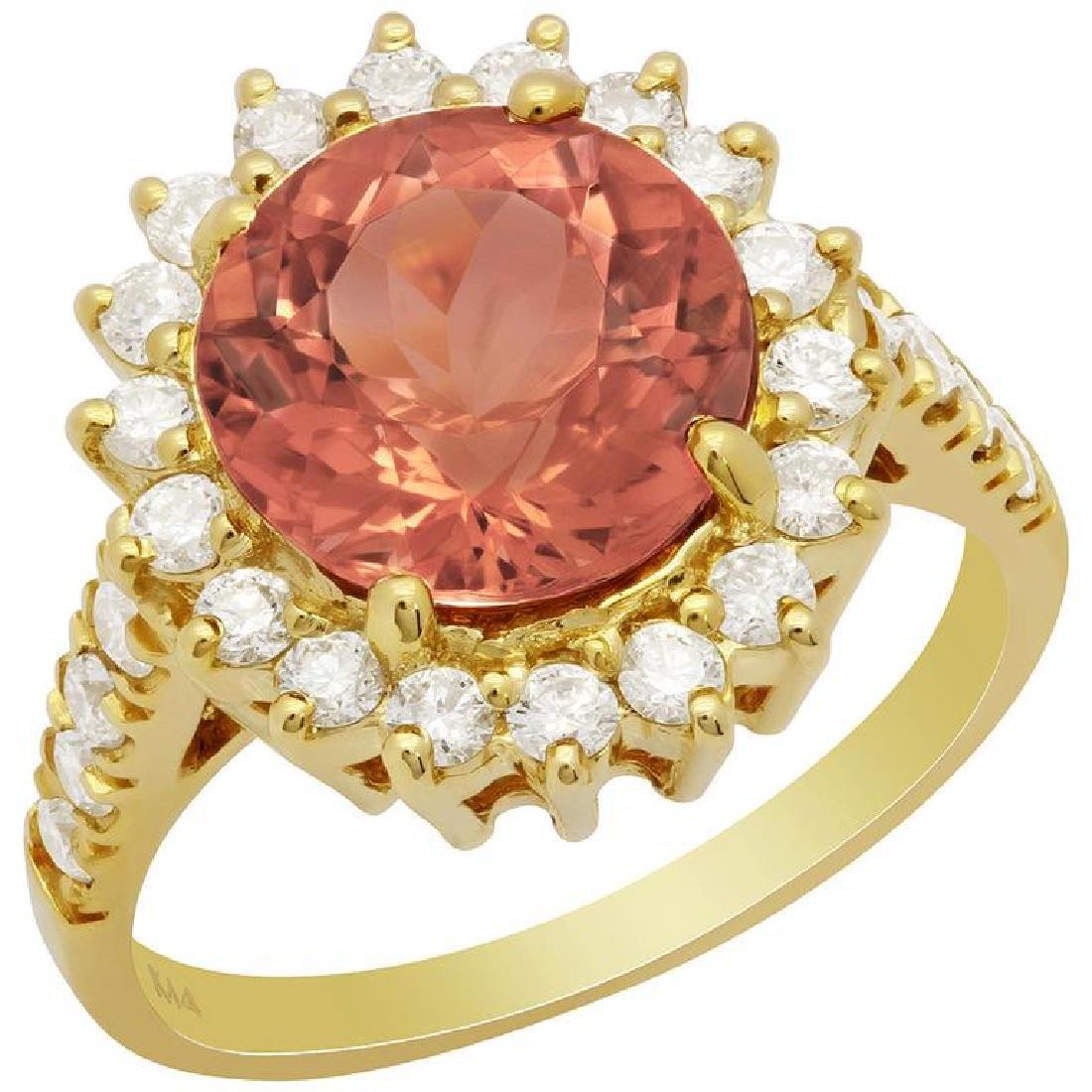 14k Yellow Gold 3.56ct Tourmaline 0.81ct Diamond Ring