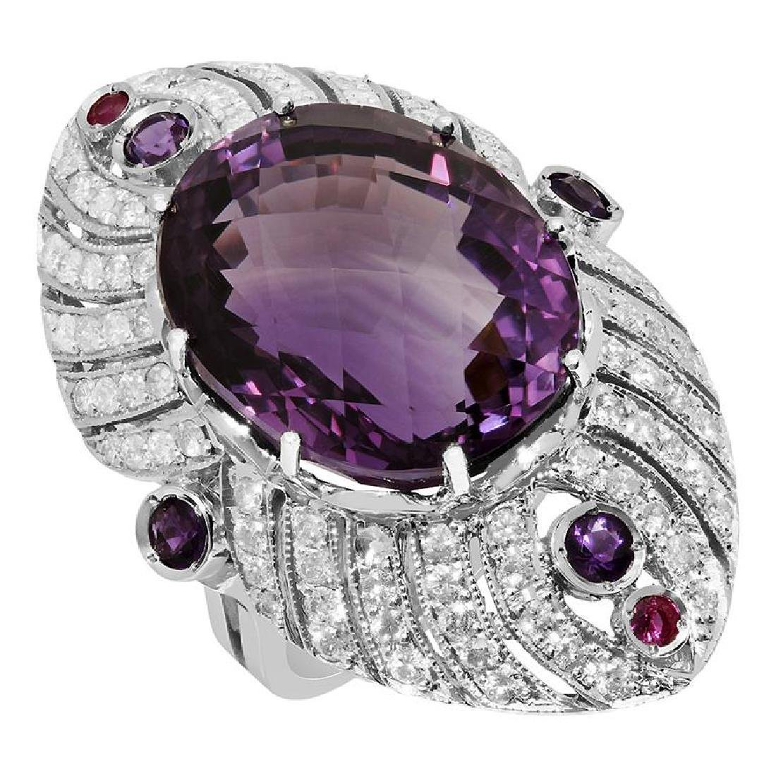 14k White Gold 26.23ct & 0.40ct Amethyst 0.15ct Ruby