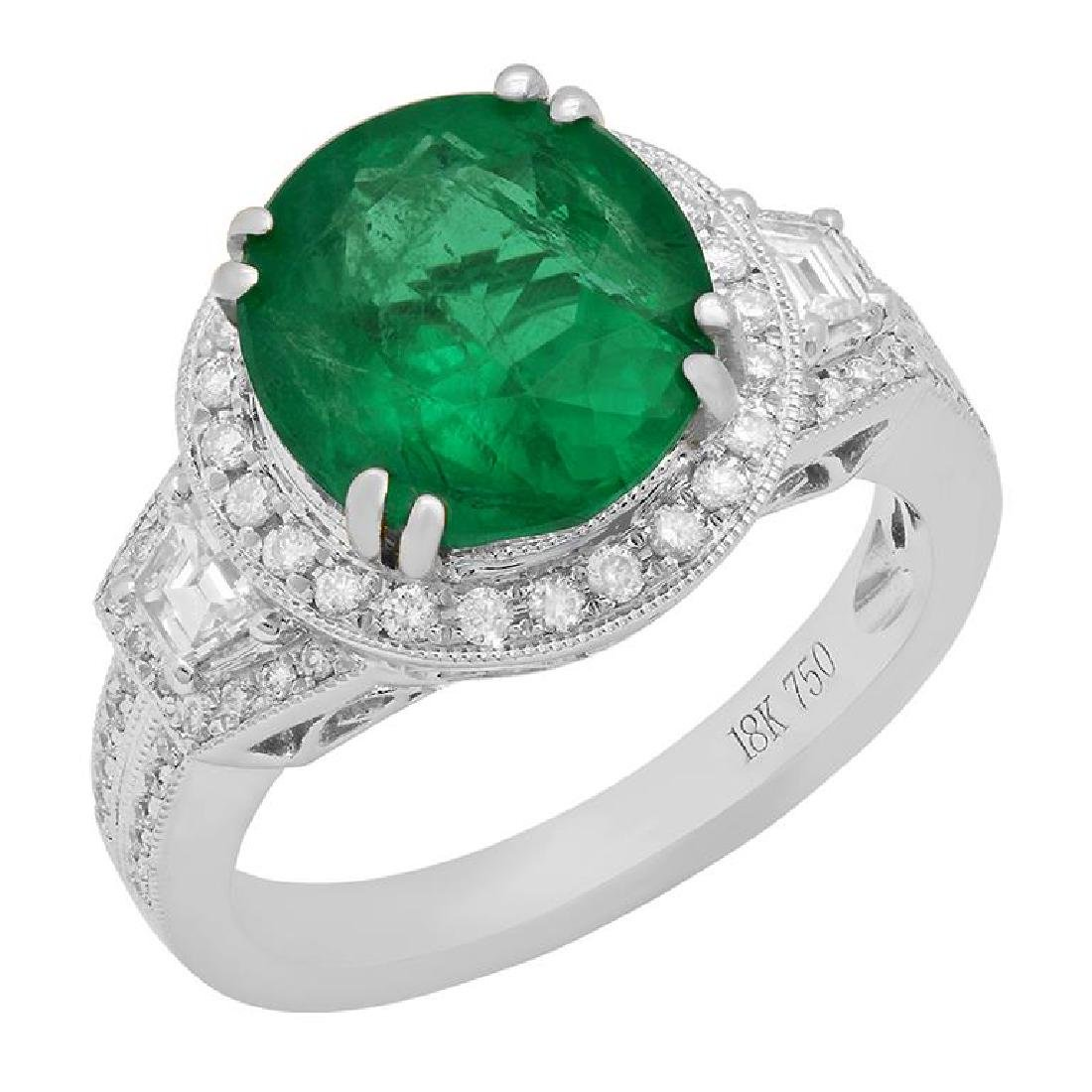 14k White Gold 3.58ct Emerald 0.88ct Diamond Ring